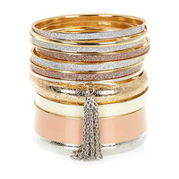 River Island Womens Gold tone mixed bangle pack