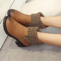 Hot Deal On Sale Matte Round-toe Knit Patchwork Boots [120847597593]