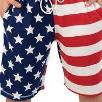Feel like an Olympian in American Flag Swim Shorts, perfect for the patriotic beach bum or the pool guy with a taste for old glory.