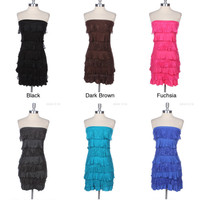 Cute Half Lace Half Solid Front Tiered Ruffled Strapless Mini Dress Sexy Comfy