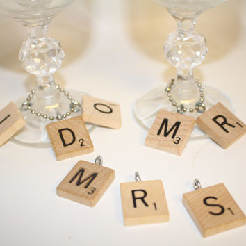 Custom Wedding Scrabble Letter Wine & Champagne Glass Charms -  receptions, bridal shower, present toppers,and anniversaries