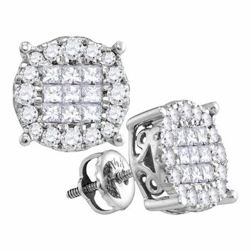 14kt White Gold Womens Princess Diamond Soleil Cluster Earrings 1-2 Cttw - FREE Shipping (US/CAN)