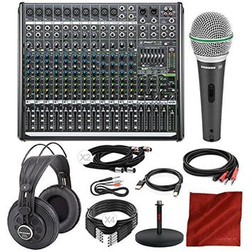 Mackie PROFX16V2 16-Channel Compact Mixer w/Built-In Effects & Platinum Studio Accessory Bundle