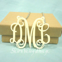 Custom Initial Monogram Necklace Personalized Jewelry Custom Pendant