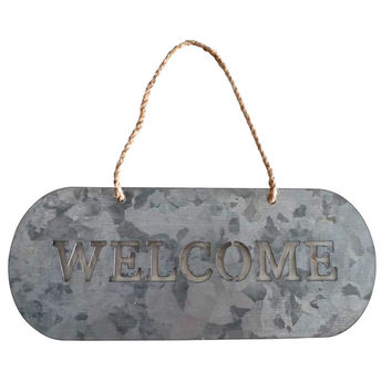 Galvanized Metal Cutout Hanging Welcome Sign 11-in
