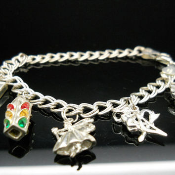 Charm Bracelet Sterling Silver 7 Inch Double Curb Link Stop Light Cupid Fairy Heart Camera Charms Italy 925