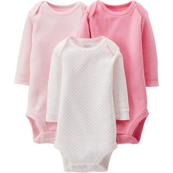Child of Mine by Carter's Newborn Baby Girl Long Sleeve Bodysuits, 3-Pack - Walmart.com