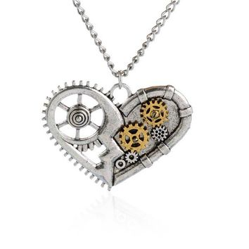 Hot sell Vintage Steampunk Love Heart Chain Statement Pendant Necklace Classic Gear Jewelry For Women Men