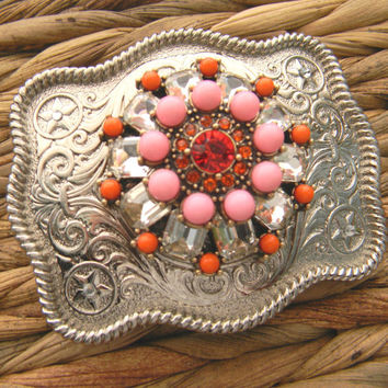 Rhinestone Coral Belt Buckle, Silver Western Womens Boho Buckle, Gypsy Clothing Silver Custom Belt Buckle, Boho Brooch, Statement Belt