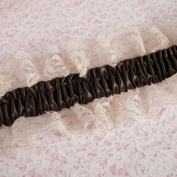 Beige Elastic Ruffled Lace with Brown Ribbon, Lingerie, Lace for Garters, Bridal Accessories, Lace for Costumes, Prom Garters