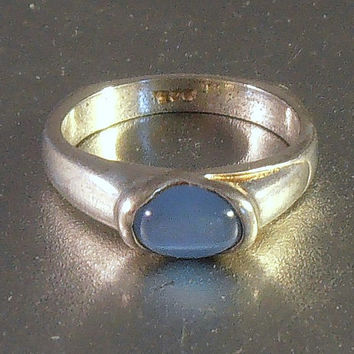 Michael Anthony Sterling Ring Blue Cat Eye Unusual Squared Edge Band Star Sapphire Movement