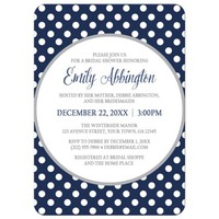 Bridal Shower Invitations - Gray Navy Blue Polka Dot