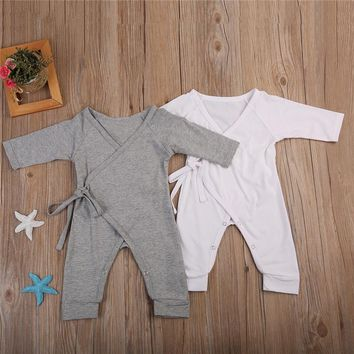 Newborn Infant Baby Boy Girl Cotton Romper Jumpsuit Boys Girl Angel Wings Long Sleeve Rompers White Gray Autumn Clothes Outfit