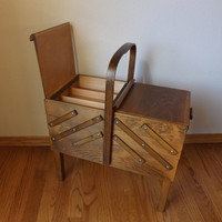 Sewing Box ~ Sewing Stand ~ AS Strommen Bruk Hamar of Norway ~ Accordion Style Sewing Cabinet ~ Furniture
