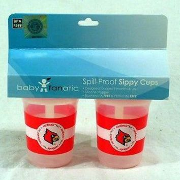 Louisville Cardinals NCAA 5 oz Plastic Sippy Cups (Set of 2) BPA Free