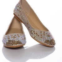 Twinkle Temptation Studded Ballet Flats - Champagne from Natures Breeze at Lucky 21