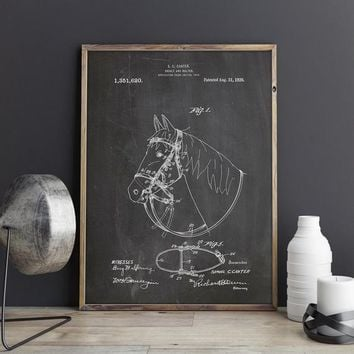 Bridle and Halter Patent Poster, Equestrian Decor, Horse Art, Horse Decor, Equestrian Gifts, Western Decor, Cowboy Art, INSTANT DOWNLOAD