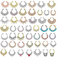 Nose Piercing Crystal Fake Septum Nose Ring Piercing Clip