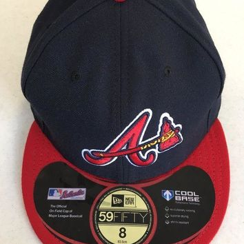 ICIKIHN ATLANTA BRAVES MLB NEW ERA 5950 NAVY W/ TOMAHAWK RED BRIM FITTED HAT