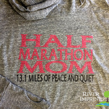 25% off In Stock Sale -- HALF MARATHON MOM Size Small, Long Sleeve Ladies Hooded Pullover, Moisture Wicking Run Jacket with thumb holes