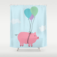 When Pigs Can Fly Shower Curtain by Doucette Designs