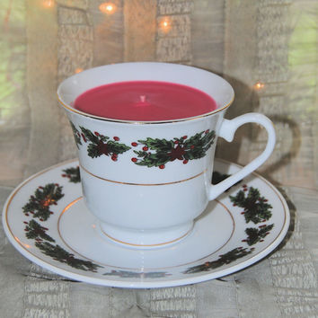 Holly Tea Cup Candle with Saucer (Gift Wrapped!)