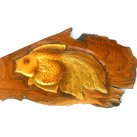 "Wood Carving Fish Hand Carved Natural Teak Wood Wall Hanging Art Home Decor Handmade / Gift 17"" x 9.5"""