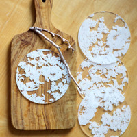 Chantilly Lace Etched Acrylic Coaster- Set of 4 White/Clear