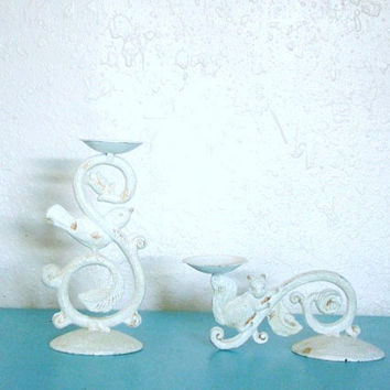 Beautiful Shabby Chic Cast Iron Bird and Squirrel Sconces set pair