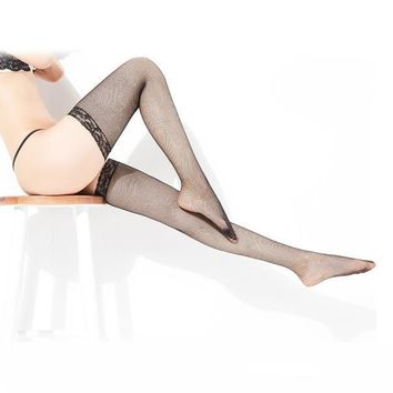 Sexy Womens Lace Top Silicone Band Thigh High Stockings Pantyhose BK