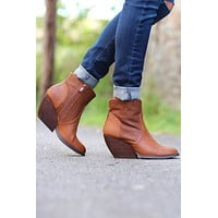 Very Volatile: Xanny Perfed Low Wedge Bootie {Brown}