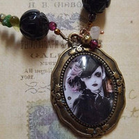 Pretty Mixed Metal Steampunk Zombie Girl Cabochon Necklace