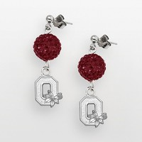 Ohio State Buckeyes Sterling Silver Crystal Linear Drop Earrings (Red)