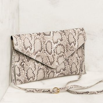 Florence White Snakeskin Envelope Clutch