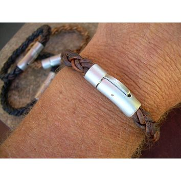 Thick Mens Leather Bracelet with a Stainless Steel Magnetic  Bayonet Clasp, Mens Bracelet, Mens Jewelry, Leather Bracelet