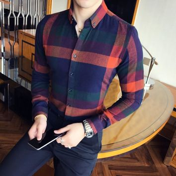 Flannel Plaid Long Sleeve Vintage Shirt  Slim Fit  Men's Business Shirt