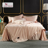 SlowDream Luxury Champagne Gold Silk Bedding Set Silky Duvet Cover Set Home Textiles Embroidery Bed Set With Flat Sheet 4Pcs