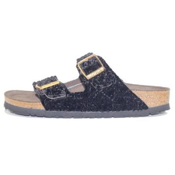 VONE05U Birkenstock for Women: Arizona Suede/Textile Persian Black Soft Footbed Sandal