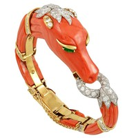 David Webb Two-Tone Diamond, Emerald, Coral Horse Bangle