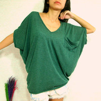Forest Dark Green Women Blouse - Oversized Tee / Cozy Comfy Tee / Pocket Tee - Slouchy Baggy Ponco T shirt - V neck blouse / Batwing Tee