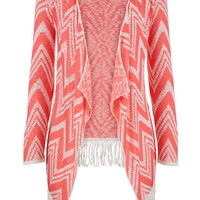 Chevron Stripe Blanket Cardigan With Fringe - Pink