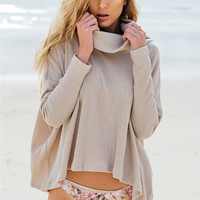 Casual Crow Neck Back Slit Loose Sweater