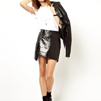 ASOS Wrap Skirt in Leather with Zip at asos.com