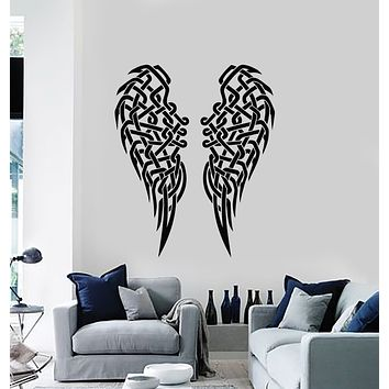 Vinyl Wall Decal Angel Wings Feathers Celtic Knot Interior Decor Stickers Mural (g722)