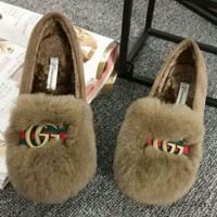 Gucci Double GG Women Casual Wool Single Shoes Shallow Mouth Flats Shoes Khaki G