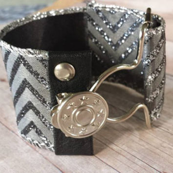 Adjustable - Chevron - Shimmering Gray to Silver - Ombre Jewelry - Overall Buckle Bracelet - Wide Cuff