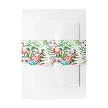 Flamboyant Flamingo Tropical nature garden pattern Invitation Belly Band