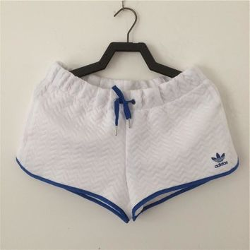 adidas Originals Women White/Blue Sports Leisure Running Shorts