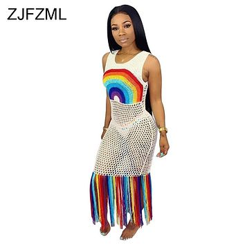 Rainbow Tassel Sexy Beach Boho Dress Women Fishnet Hollow Out See Through Party Dress Summer O Neck Sleeveless Bandage Maxi Robe