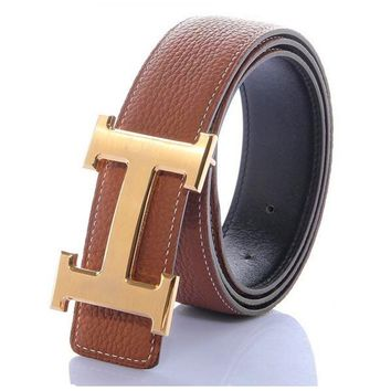 Leather Brown Hermes Belt H Metal Steel Slide Buckle Adjustable Men And Women